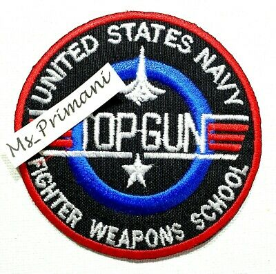 £1.85 • Buy Embroidered Usa Navy Top Gun Iron/sew On Patch Jacket Jeans Badge  7.8cm Dia