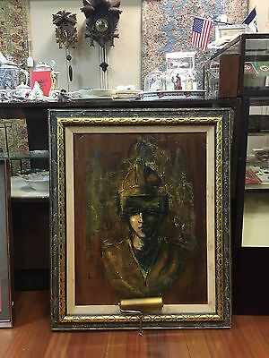 Stunning  American Oil On Board Painting Of A Young Man W Golden Helmet • 222.02£