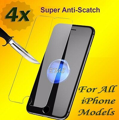 AU6.99 • Buy 4 X Premium Tempered Glass Screen Protector For Apple IPhone X 6 S 7 8 Plus SE 5