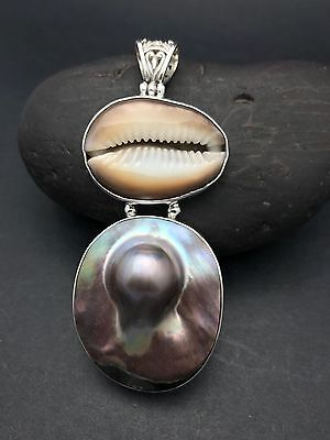 $99 • Buy STERLING SILVER COWRIE SEA SHELL AND MABE BLISTER PEARL Pendant FREE SHIPPING !!