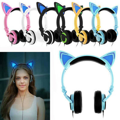 $ CDN17.52 • Buy Cute Foldable Cat Ear Headset LED Lights Glowing Headphones Earphone Universal
