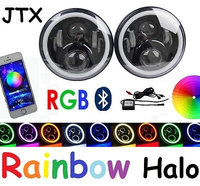 AU425 • Buy JTX 7  LED Headlights RGB Rainbow Halo  Ford Bronco PickUp F100 F150 F250 F350
