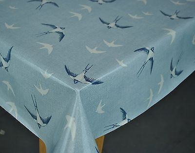 £12.99 • Buy Fryetts Swallows Blue Cotton PVC Fabric WIPE CLEAN Tablecloth Oilcloth