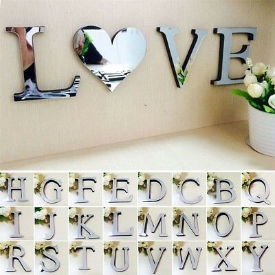1Pcs 3D Mirror Wall Sticker Letters DIY Art Mural Home Room Decor Acrylic Decals • 2.17£