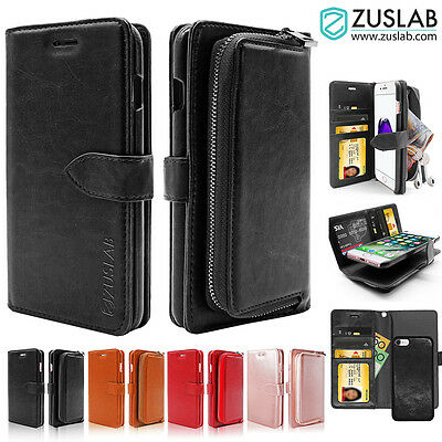 AU15.99 • Buy IPhone 8 8 Plus 7 Case For Apple ZUSLAB Detachable Zipper Leather Wallet Cover