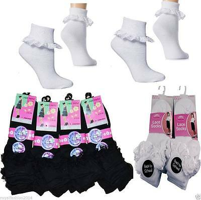 £3.49 • Buy 3 And 6 Pairs Girls PolyCotton School Socks For Kids, Frilly Lace Ankle Socks