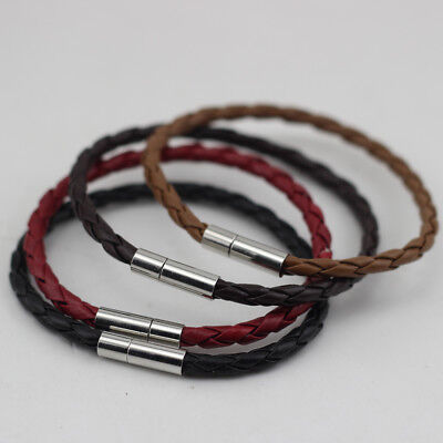 4mm Real Leather Braided Wristband Bracelet Push Fit Bayonet Clasp • 2.99£