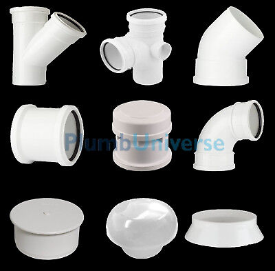 White Soil Pipe And Ring Seal Fittings, Elbow, Tee, Branch Pushfit UPVC 110mm • 5.99£