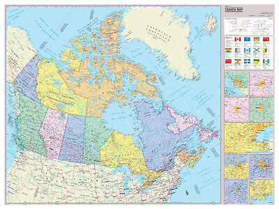 AU35.41 • Buy Cool Owl Maps Canada Wall Map Poster - Paper 40 X30