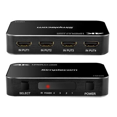 AU34.95 • Buy 4 Way HDMI 2.0 Switch 4 Port IN 1 OUT Ultra HD 4K 60Hz HDR HDCP 2.2 For PS4 Pro