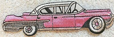 Iron On Embroidery PATCH 50'S CAR SEDAN  CADILLAC Pink NEW • 5.99$