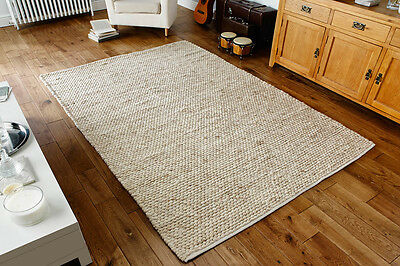 Beige Cream Braided Modern Handwoven Pebbled Wool Durrie Rugs 80x150cm CLEARANCE • 99.99£