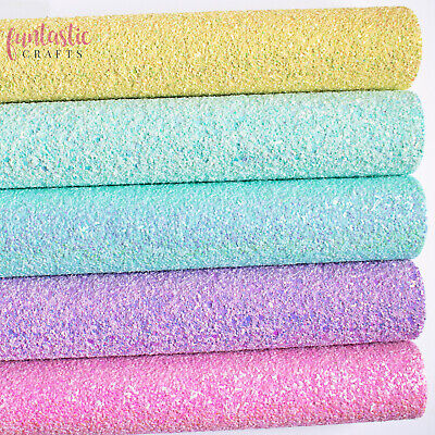 Chunky Mixed Glitter Fabrics - A4 Sheets For Crafts & Bows - Premium Quality • 3.99£