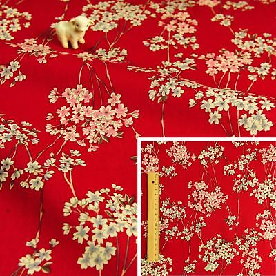 JAPANESE RED Meter/Squares Cotton Fabric Scarlet Oriental Kimono Floral Flowers • 3.25£
