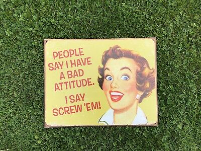 1950s Housewife Metal Tin Plaque Sign Novelty Vintage Decorative Shabby Chic  • 15£
