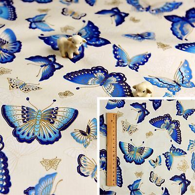 £3.25 • Buy JAPANESE BLUE WHITE GOLD Meter/Squares Cotton Fabric Oriental Kimono Butterfly