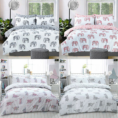 Animal Duvet Cover Set Elephant Cats King Size Double Single Super Bedding Kids • 12.99£