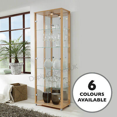 The HOME Glass Display Cabinet Double Beech/ Oak Effect 4 Shelves Mirror & Light • 199£