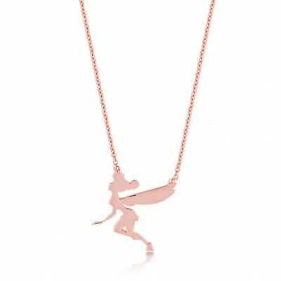 £32 • Buy Disney Couture Kingdom Rose Gold-plated Flying Tinkerbell Silhouette Necklace