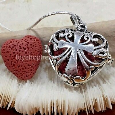 AU12.95 • Buy Aromatherapy Diffuser Sacred Heart Cross Necklace Essential Oil Red Lava Stone