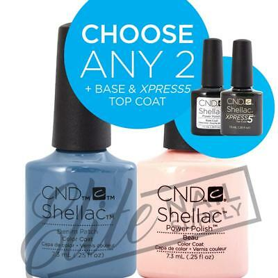 AU86.95 • Buy CND SHELLAC - 7.3ml - Any 2 Colours + Base + XPRESS5 Top + FREE Remover Wraps