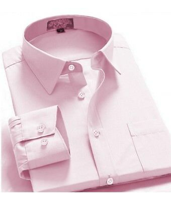 Men's Regular Fit Long Sleeve French Cuff One Pocket Oxford Dress Shirt Pink • 10.90£