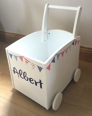 £54.99 • Buy Boys Toy Box Push Along Trolley Red White Blue Bunting, Personalised