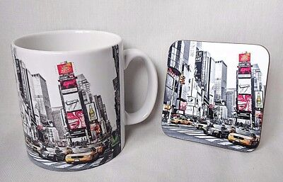 Times Square - New York - NYC - Coffee MUG CUP + Coaster (wood) Gifts - America • 12.99£
