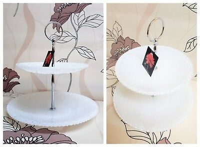 £9.99 • Buy 2 Tier Ornate Glass Cake Stand White Finish.New & Boxed.Tea Party Afternoon Tea