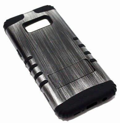 AU12.61 • Buy For Samsung Galaxy S8 Gray Wood Design Black Rubber Hybrid Armor Skin Case Cover