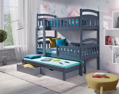 New Bunk Bed MARIO 3 Triple Sleeper Solid Wood With Mattresses Custom Colours  • 469£