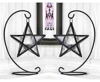 $38.75 • Buy 2 Black Moroccan STAR 13  Candle Holder Lantern Light Terrace Outdoor Terrace