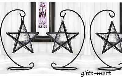 $45.39 • Buy 3 Hanging Black Moroccan STAR 13  Candle Holder Lantern Light Lamp & Table Stand