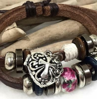 AU15.95 • Buy Aromatherapy Diffuser Heart Cross Charm Bracelet Leather Essential Oil Lava