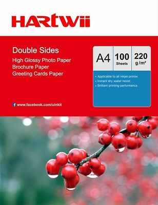 £12.99 • Buy 100 Sheets A4 220Gsm Double Sided High Glossy Photo Inkjet Paper Print Hartwii