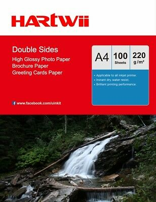£12.99 • Buy A4 Double Sided High Glossy 220Gsm Photo Paper Inkjet Paper Hartwii -100 Sheets