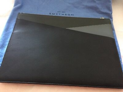 SMYTHSON Of BOND Street , Maddox  Pouch, Charcoal , Lambskin,Brand New! • 300£