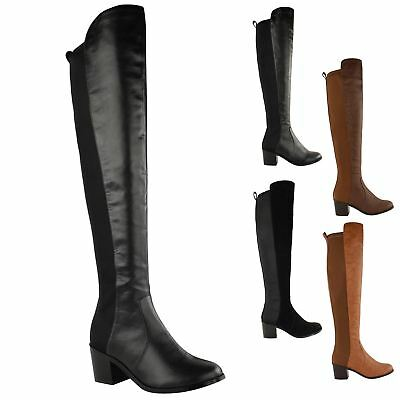 Womens Ladies Over The Knee Thigh High Stretch Pull On Low Mid Heel Boots Shoes • 22.99£