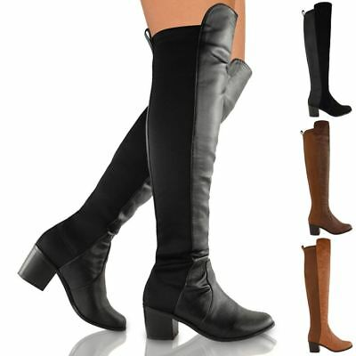 £23.99 • Buy Womens Ladies Over The Knee Thigh High Stretch Pull On Low Mid Heel Boots Shoes