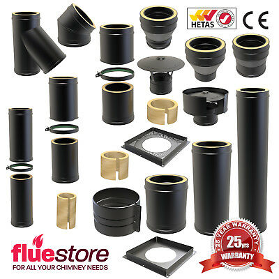 Black Twin Wall Multifuel Insulated Flue Pipe For Wood Burning Stove Convesa KC  • 16.50£