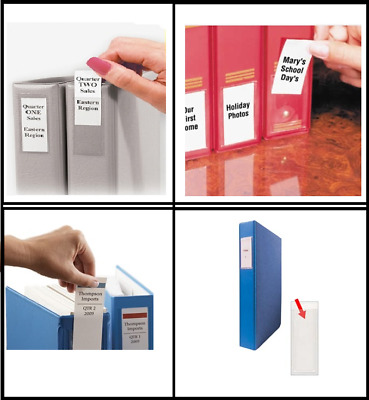 £5.99 • Buy Self Adhesive Filing INDEX Pockets Insert Label Holders . Clear Transparent PVC