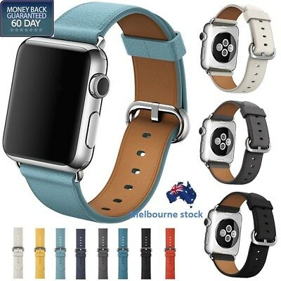 AU13.18 • Buy Leather Band Strap Bracelet+Classic Buckle For Apple Watch Series 6/ 5/4/3/2/1