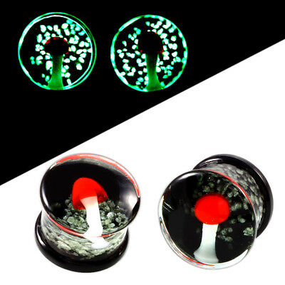 AU6.60 • Buy GLOW IN THE DARK MUSHROOM Glass Ear Plugs Piercing Tunnels Stretchers PL150