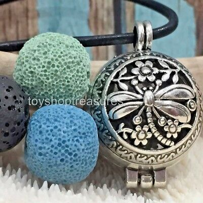 AU17.95 • Buy Aromatherapy Diffuser Dragonfly Necklace Essential Oil Lava Stone Green Blue Blk