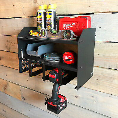 £42.95 • Buy Black Drill Driver Battery Charger Tool Rack Shelving Storage Workshop Tidy
