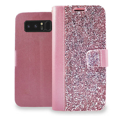 $ CDN10.60 • Buy For Samsung Galaxy Note 8 Rose Gold Pink Rhinestone Wallet Card Slot Case Cover