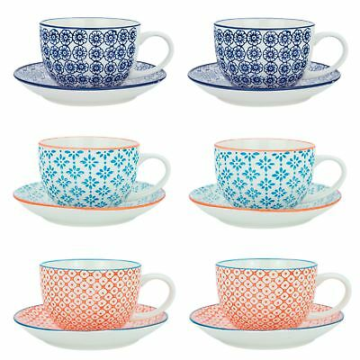 £20.99 • Buy Cappuccino Cups And Saucers Set Coffee Tea Porcelain 250ml - 3 Patterns - X6