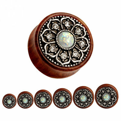 AU6.25 • Buy TIMBER OPAL FLORAL Ear Plugs Piercing Jewellery Saddle Tunnel Flared Wood PL156