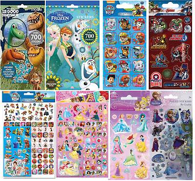 Boys Girls Childrens Character Fun Stickers Sheets Party Pack Loot Bag Fillers • 2.49£