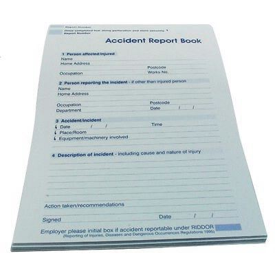 £4.99 • Buy  Accident Report Book Pad Schools/Workplace Small A5